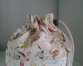 Garden birds with eggs drawstring cotton project bag perfect for knitting socks or crocheting similar projects.