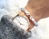 Initialen Armband mit Glasperlen