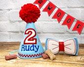 Dog Birthday Hat Personalized and Dog Birthday Bow Tie SET, Gotcha Day Party Hat, Birthday photo prop, Dog Party Supplies, Dog 1st Birthday