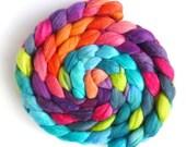 Merino/ Silk Hand Spinning Roving (Top) - Hand Dyed, Summer Jubilee