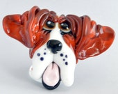 PORTRAIT Style Whimsical Dog,  Lampwork Glass Focal Bead,    Glass Sculpture Collectible, Focal Bead, Pendant, Izzybeads SRA