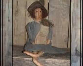 Primitive folk art rag doll crone herb collector weed woman Lucys Lazy Dayz HAFAIR ofg faap