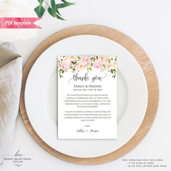 printable blush pink floral wedding thank you note 5x7 thank you