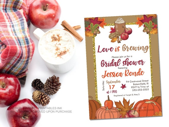 2dac1c4b398a Printable fall bridal shower invitation   autumn bridal shower invite   love  is brewing invite   rustic fall invite   coffee shower invite