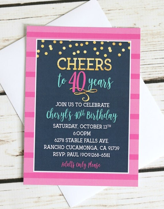 40th birthday invitations cheers to 40 years printed invitations