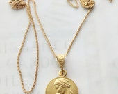 Necklace - Mary & Baby Jesus 18K Gold Vermeil 16.5mm + 18 inch Italian 18K Gold Vermeil Chain