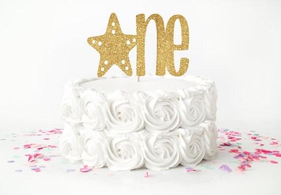 1st Birthday Cake Topper Starfish Beach