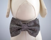 Charcoal Gray Dog Bow Tie, Black White Linen Neutral Bow Ties for Wedding Collar Dogs / Cats, Pet Collar Bow fits Small to Extra Large Pets