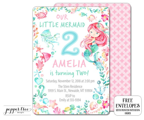 Our Little Mermaid Birthday Invitation For Girl With Pink