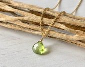 Lime Green Peridot Dainty single Drop gold Necklace, August birthstone gift  teardrop minimalist every day layering necklace
