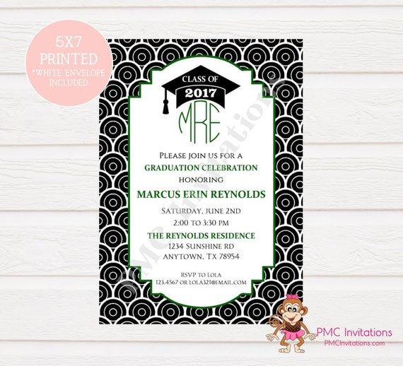 monogram graduation celebration invitation graduation party