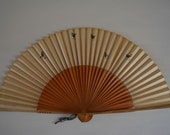 Hand fan, bamboo and paper, vintage Japanese sensu #53