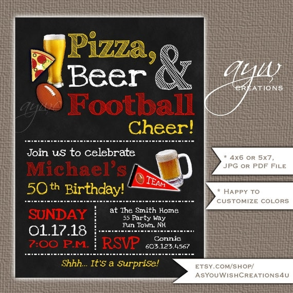 50th birthday invitation for men beer and football party il570xn filmwisefo