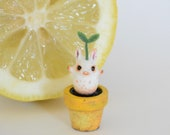 Teeny potted sprouting magic bean sculpture - yellow pot