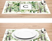 Greenery Paper Placemats With Monogram C