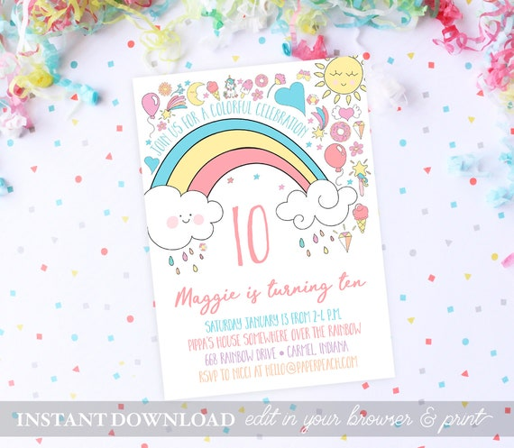 Rainbow Birthday Party Invitations INSTANT DOWNLOAD Invites
