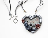 Raven Heart Skull and Roses Gothic Necklace, Big Chunky Silver Red and Black Color Goth Necklace, Bird Jewelry