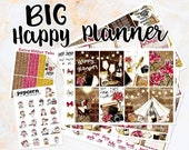 NewRELEASE Glamping Camping beach set / kit weekly stickers - BIG Happy Planner - glam fall autumn roses September October