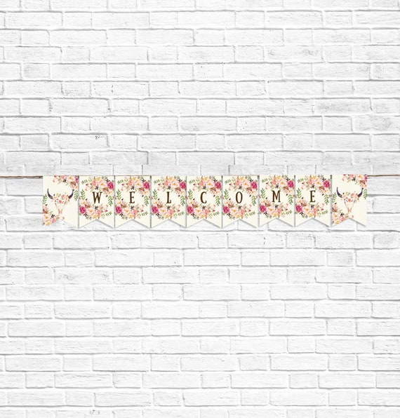 baby shower banner welcome banner flower digital file printable