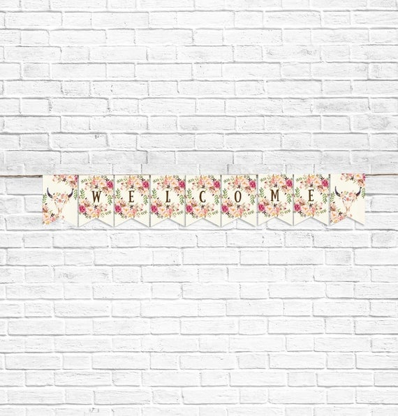 Baby Shower Banner Welcome Flower Digital File Printable