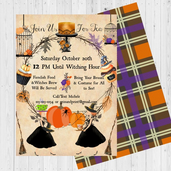 Witches Tea Invitations Party Vintage Halloween