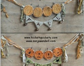 Primitive JOL Pumpkins Punch Needle Halloween Fall Pattern Download PDF Banner Needlepunch Downloadable Printable Hickety Pickety