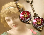 RESERVED 1800s BIRD BUTTON earrings. Victorian songbirds on brass. Antique button jewellery. Reserved for Khroger.