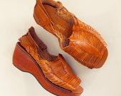 RESERVED Vintage Platform Wood Sole Leather Huarache Sandals about US size 8M