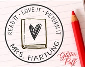 Library Stamp - Classroom Books Stamper - Custom Teacher Gift -4567  Book Rubber Stamp Self-inking - Read Love Return
