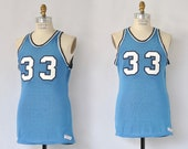 BE A SPORT Vintage 60s Mens Tank Top | 1960's Wilson Sports Basketball Jersey T-Shirt | Patch Numbers 33 thirty three, 70s 1970s | Sz Medium