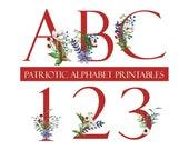 Patriotic Floral Alphabet Clipart, Letters Clipart, Red, White, Blue, Digital Download, Patriotic Digital Letters, Font Clipart, American