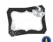 Masquerade (Silver & Black) Food Label Tent Cards | Printable | Instant Download | | Mardi Gras | Sweet 16 | Quinceañera