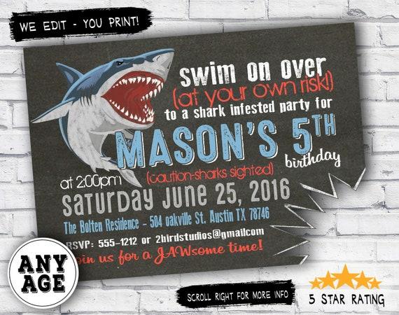shark birthday invitations shark invitations pool party or summer