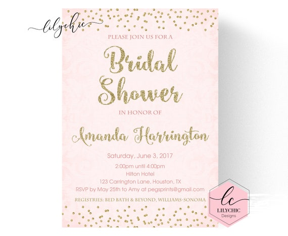 Gold and pink bridal shower invitation gold bridal shower il570xn filmwisefo