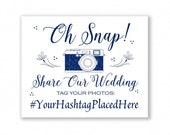 Navy Blue Printable Social Media Wedding Sign, Oh Snap, Instagram, Hashtag Sign, #SOC8N