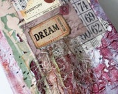 Pink Green, Junk Journal, Mixed Paper, Ephemera, Hardcover Art Journal, Mixed Media, Daily Diary, Coffee Table Book, Idea Book, Prompt Book