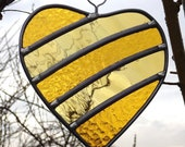 Ready to ship - 50th Golden Wedding Anniversary Stained Glass Heart - Outdoor Garden Tree  or Trellis Ornament Decoration, Indoor Suncatcher