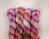 "Hand Dyed Yarn - ""Sari"" Merino Wool Fingering weight, Indie dyed yarn, Speckle Sock Yarn 100g skein"