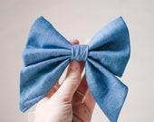 Girly dog bow, Denim bow, blue chambray dog bow, feminine dog collar bow, summer dog bow for girls, pretty sailor bow