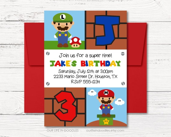 Mario bros invitation video games birthday party invitation arcade il570xn stopboris Choice Image