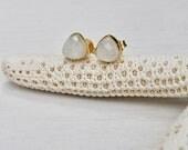 Rainbow Moonstone Stud Earrings, Trillion Stud Earrings, Post Earrings, White Earrings, Neutral Earrings, Gemstone Earrings, triangle studs