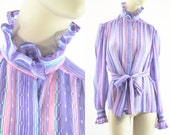 Vintage 80's Pink and Purple Striped Sheer Long Sleeve High Ruffle Neck Button Down Woman's Retro Blouse