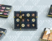 """Luxurious Chocolaterie Box of French """"Palet Or"""" Round Chocolates Decorated with real Gold Leaf - Miniature Food in 12th Scale for Dollhouse"""