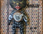 EHAG OOAK Black Cat Voodoo Doll Softie Creepy Cute Handmade Vintage Style Halloween Gifts and Decoration Magic Witch Free Ship in USA Ouija