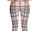 Pink and Gray Plaid Print Leggings for Women • Perfect for Fall and Winter
