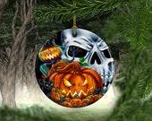 Halloween Tree Porcelain Ornaments, Evil Pumpkin , Halloween Skull Themed Keepsake Ornament, Christmas Decorations