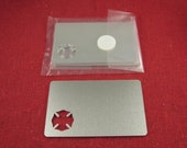 Clearance - Wallet Insert With Maltese Cut Out Aluminum Stamping Blanks, 14 Ga Thick, 1100 Aluminum, 2 Pieces