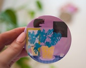 "Printed 3"" pocket mirror illustrated with our ""Late Coffee"" design, retro illustration, make up mirror, monstera and cat print"