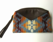 RESERVED for Elena Large Zippered Pouch Wool Change Purse Coin Purse Brown Deer Hide Leather