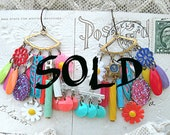 SOLD...bright charm earrings assemblage mismatched summer mix funky fun kitsch upcycled random objects
